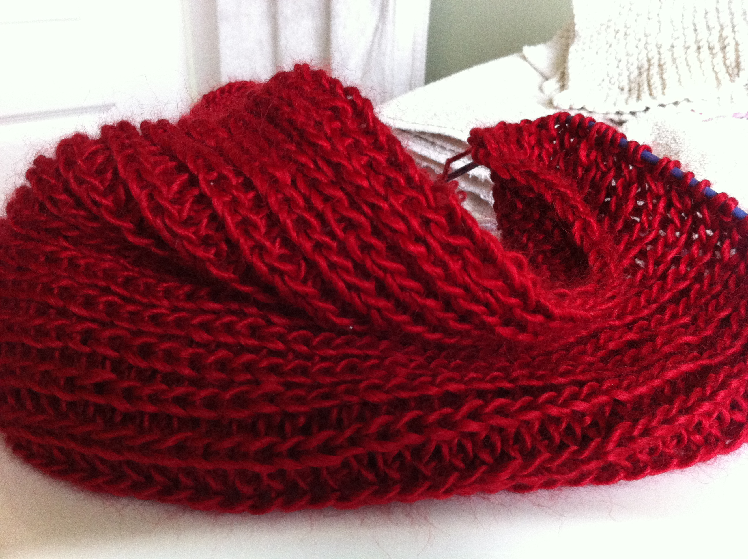 Infinity Scarf Knitting Pattern Thin Yarn : Yarn Along- and the Winner is? Twyste